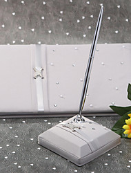 Guest Book Pen Set Satin Garden ThemeWithBow Rhinestones Wedding Ceremony