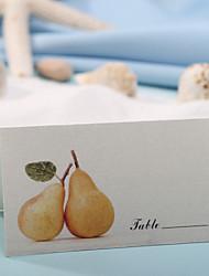 sted kort og holdere bordkort - gyldne pærer (sæt af 12)