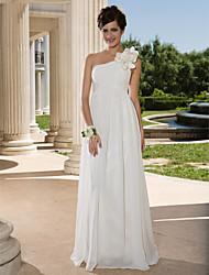economico -A tubino Monospalla Lungo Chiffon Vestito da sposa con Incrociato Floreale Drappeggio a lato di LAN TING BRIDE®
