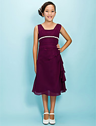 cheap -A-Line Princess Square Neck Tea Length Chiffon Junior Bridesmaid Dress by LAN TING BRIDE®