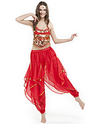 cheap -Belly Dance Outfits Women's Performance Chiffon Beading Coins Sleeveless Natural