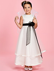 A-Line Princess Ankle Length Flower Girl Dress - Satin Tulle Sleeveless Jewel Neck with Flower by LAN TING BRIDE®