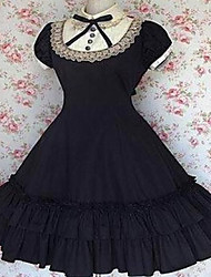 cheap -Short Sleeve Knee-length Cotton Retro Style Aristocrat Lolita Dress