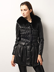 Elegant Lambskin Leather Fox Fur Collar Long Sleeves Party/Office Coat (More Colors)
