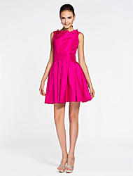 cheap -A-Line Princess Bateau Neck Short / Mini Taffeta Bridesmaid Dress with Draping Pleats by LAN TING BRIDE®