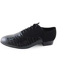 Недорогие -Муж. Обувь для модерна / Бальные танцы Бархатистая отделка / Дерматин Танцевальная обувь Черный