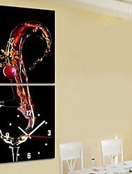 cheap -Modern Style Wine Theme Wall Clock in Canvas Set of 2