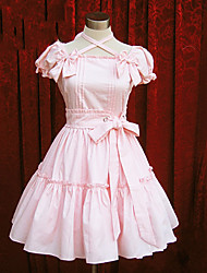 Uma-Peça/Vestidos Doce Lolita Cosplay Vestidos Lolita Rosa Azul Cor Única Manga Curta Comprimento Médio Vestido Para Algodão