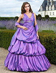 cheap -A-Line Ball Gown Princess V-neck Floor Length Taffeta Prom Quinceanera Dress with Beading by TS Couture®