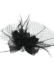 abordables -Tulle Cristal Plume Tissu Diadèmes Voiles Birdcage 1 Mariage Occasion spéciale Fête / Soirée Casque