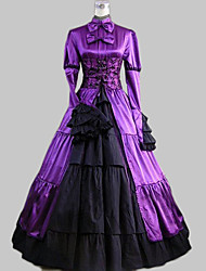 cheap -One-Piece/Dress Classic/Traditional Lolita Lolita Cosplay Lolita Dress Patchwork Long Sleeve Long Length Dress For Satin Cotton