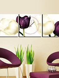 Недорогие -Часы настенные аналоговые из 3 полотен с изображением тюльпанов