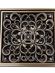 cheap -Contemporary Flower Pattern Square Antique Copper Brass Drain