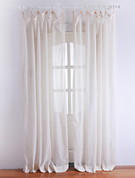 cheap -One Pair  Classic Ivory Solid Sheer Curtain