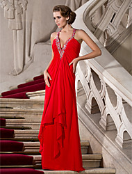A-Line Princess V-neck Straps Floor Length Chiffon Prom Dress with Beading by TS Couture®