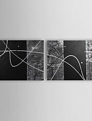 baratos -Pintura a Óleo Pintados à mão - Abstrato Contemprâneo Incluir moldura interna / Lona esticada