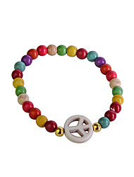 European Style Candy Color 6Mm Resin Beads Peace Symbol   Bracelet