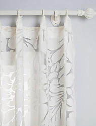 Country Two Panels Floral  Botanical White Living Room Polyester Sheer Curtains Shades