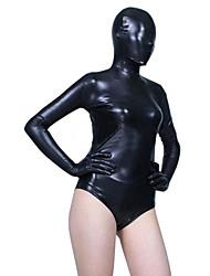 billige -Skinnende Zentai Dragt Ninja Spandex Heldragt Cosplay Kostumer Sort Ensfarvet Trikot/Heldragtskostumer Zentai Spandex Dame Jul Halloween