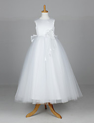 A-Line Ball Gown Princess Ankle Length Flower Girl Dress - Satin Tulle Sleeveless Jewel Neck with Flower(s) by LAN TING BRIDE®