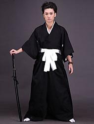 Недорогие -Вдохновлен Традиционный японский Японский воин / самурай Аниме Косплэй костюмы Японский Косплей Костюмы / Кимоно Однотонный Бельё / Пояс / кимоно Пальто Назначение Муж. / Жен.