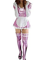 Shiny Zentai Suits Ninja Zentai Cosplay Costumes Pink Patchwork Dress Apron Stockings Spandex Cotton Female Halloween Christmas