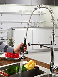 Недорогие -кухонный смеситель - Одно отверстие Хром Выдвижная / Выпадающий Настольная установка Современный Kitchen Taps / Одной ручкой одно отверстие
