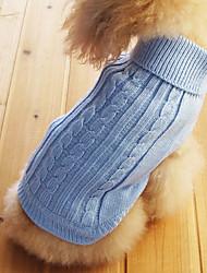 Недорогие -Кошка Собака Свитера Одежда для собак Однотонный Светло-синий Хлопок Костюм Назначение Зима