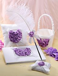 collection de thème de jardin sertie de rubans de pétales cérémonie de mariage en satin