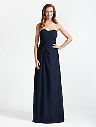 cheap -Sheath / Column Strapless / Sweetheart Neckline Floor Length Chiffon Bridesmaid Dress with Criss Cross / Flower by LAN TING BRIDE®