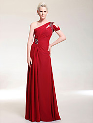 Sheath / Column One Shoulder Floor Length Chiffon Stretch Satin Prom Dress with Beading by TS Couture®
