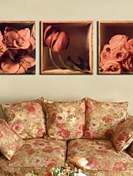 Недорогие -натянутым холстом печати цветочные розы Набор 3 1301-0177