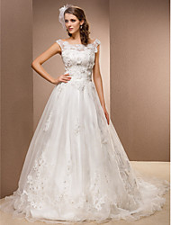 A-Line Scoop Neck Chapel Train Lace Organza Wedding Dress with Beading Appliques Sash / Ribbon Flower by LAN TING BRIDE®