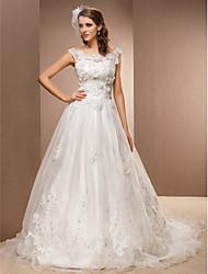 Linha A Cauda Capela Renda Organza Vestido de casamento com Miçangas Apliques Faixa / Fita Flor de LAN TING BRIDE®