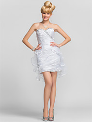 cheap -Sheath / Column Strapless Sweetheart Short / Mini Tulle Charmeuse Graduation Dress with Beading by TS Couture®
