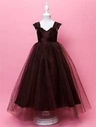 abordables -Una línea de longitud del piso vestido de niña de flores - tul sin mangas con correas de cuello de v de lan ting bride®