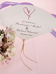 cheap -Personalized Pearl Paper Hand Fan - Heart (Set of 12) Wedding Favors