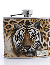 cheap -Personalized Father's Day Gift Leopard Print 5oz PU Leather Flask