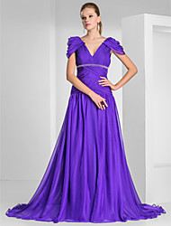 cheap -A-Line / Princess V Neck Sweep / Brush Train Chiffon Formal Evening Dress with Beading / Draping / Criss Cross by TS Couture®