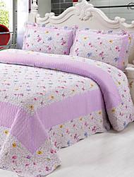 baratos -Padrão lilás 3 peças lavadas algodão conjunto quilt