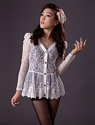 Недорогие -Чжи Юань V шеи складки Lace Shirt (другие цвета)