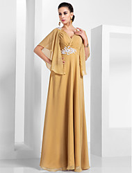 cheap -A-Line V Neck Floor Length Chiffon Formal Evening Dress with Appliques / Ruched by TS Couture®