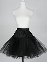 cheap -Slips A-Line Slip Ball Gown Slip Short-Length 5 Tulle Netting Taffeta Black