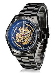 baratos -SHENHUA Homens Relógio de Pulso / relógio mecânico Gravação Oca Aço Inoxidável Banda Luxo Preta / Automático - da corda automáticamente