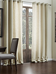 cheap -Rod Pocket Grommet Top Tab Top Double Pleat Two Panels Curtain Modern Solid Living Room Polyester/Cotton Blend Faux Linen Material