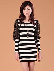 Zhi Yuan Slim Stripe Lace Lantern Sleeve Dress (Flere farver)