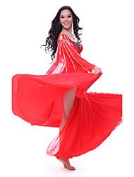 baratos -Dança do Ventre Roupa Mulheres Treino Tule Cristal / Strass Sem Manga