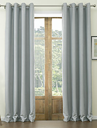 cheap -Rod Pocket Grommet Top Tab Top Double Pleat Two Panels Curtain Neoclassical , Embossed Solid Polyester Material Blackout Curtains Drapes