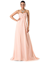 Sheath / Column Spaghetti Straps Sweetheart Sweep / Brush Train Chiffon Prom Dress with Beading by TS Couture®