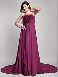 A-Line Strapless Court Train Chiffon Formal Evening Dress with Draping Feathers / Fur by TS Couture®